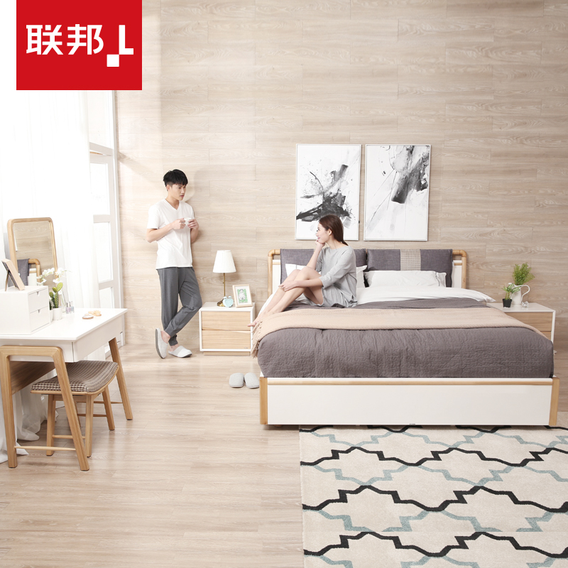 Присоединиться государственный мебель современный стиль деревянные кровати соус табуретка тумбочка комбинированный набор спальня легко королева магазин хранение