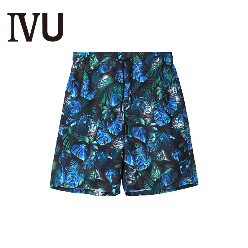Special offer IVU printed beach pants under Emrifang Fashion Men's Drawstring Casual Shorts UH0024