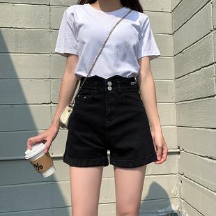 黑色牛仔短裤女夏季薄款2021年新款高腰显瘦宽松阔腿辣妹a字白色