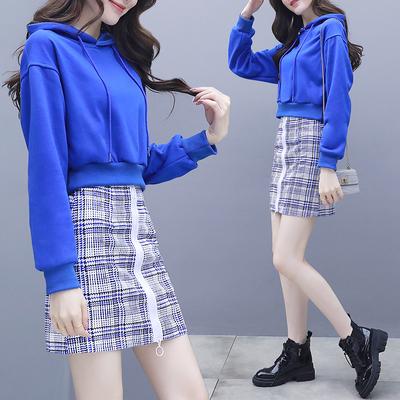 网红2019新款女装春装高腰短款卫衣搭半身裙两件套装休闲学生蹦迪