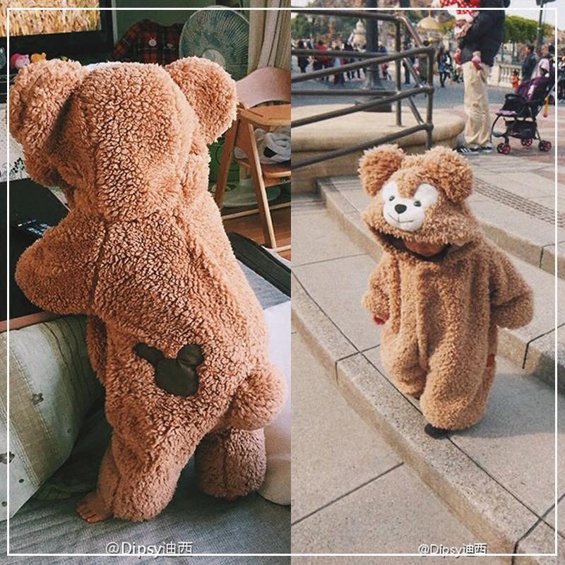 赤ちゃんのワンピース秋冬可愛い小熊動物外出服ネット赤い赤ちゃん達菲熊子供哈衣爬行服