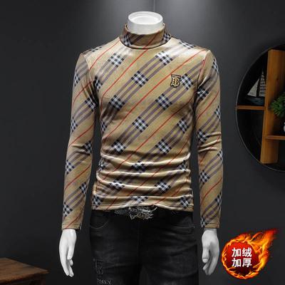 2021新款打底衫加绒长袖T恤时尚格子刺绣B男士秋衣 316-2321-P100
