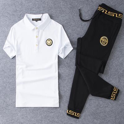 D316-19077-P195 丝光棉短袖t恤运动休闲套装男长裤 白 平铺