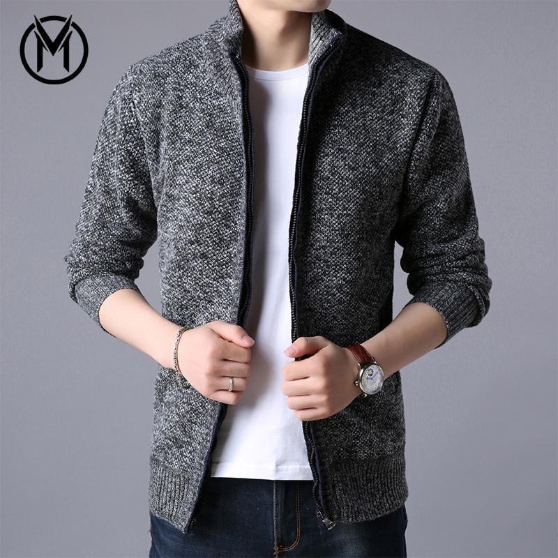 冬季开衫男加绒加厚外穿毛衣青年男士外套针织衫保暖夹克潮流冬装