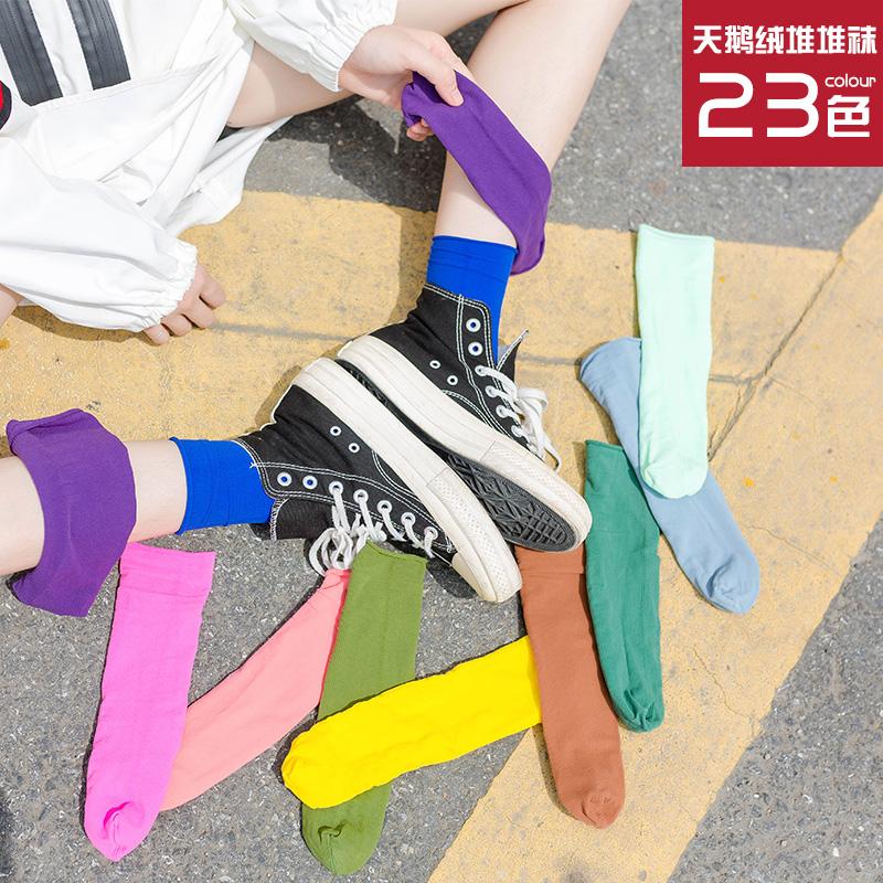 堆堆袜夏季袜子女长袜春秋彩色透气潮薄款短黑色中筒袜女韩国ins