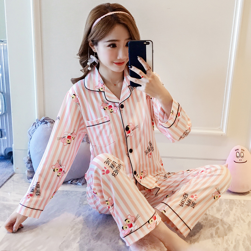 韩国粉红豹卡通春秋季清新学生睡衣10月11日最新优惠