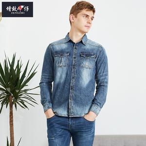 【买一送一】2019秋季增致牛仔男装长袖衬衣修身全棉夹克薄182007