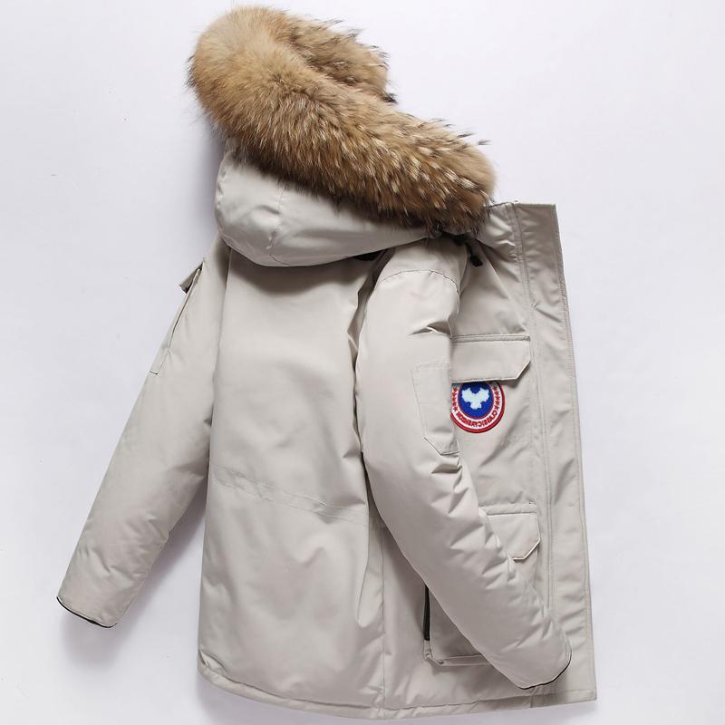 工装户外羽绒服男女装中长款2018新款冬季加厚毛领连帽外套潮大衣