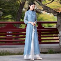 禅意茶服汉服中国风上衣女旗袍新款改良唐装中式套装两件套女装