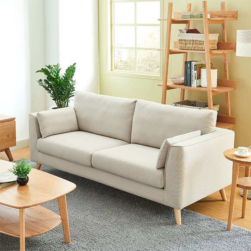 Nordic Japanese simple fabric sofa modern double living room small family three simple two person fabric sofa