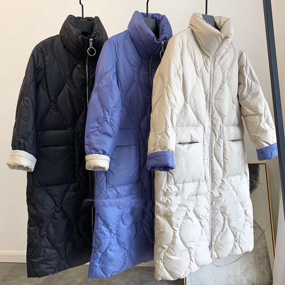 重磅亏~!去年1000+工厂反季清仓 宽松廓形90%白鸭绒中长款羽绒服