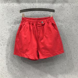 欧洲站女装牛仔短裤2020夏季新款休闲松紧腰大红色宽松阔腿裤热裤
