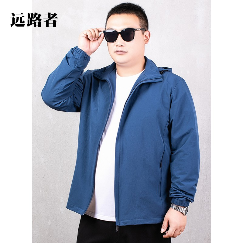 Jacket mens spring and autumn plus fat extra large fat outdoor sports coat extra large fat guy loose casual windbreaker
