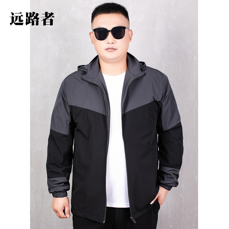 Fat spring and autumn thin windbreaker color matching sportswear mens plus fat plus large jacket elastic breathable jacket extra large