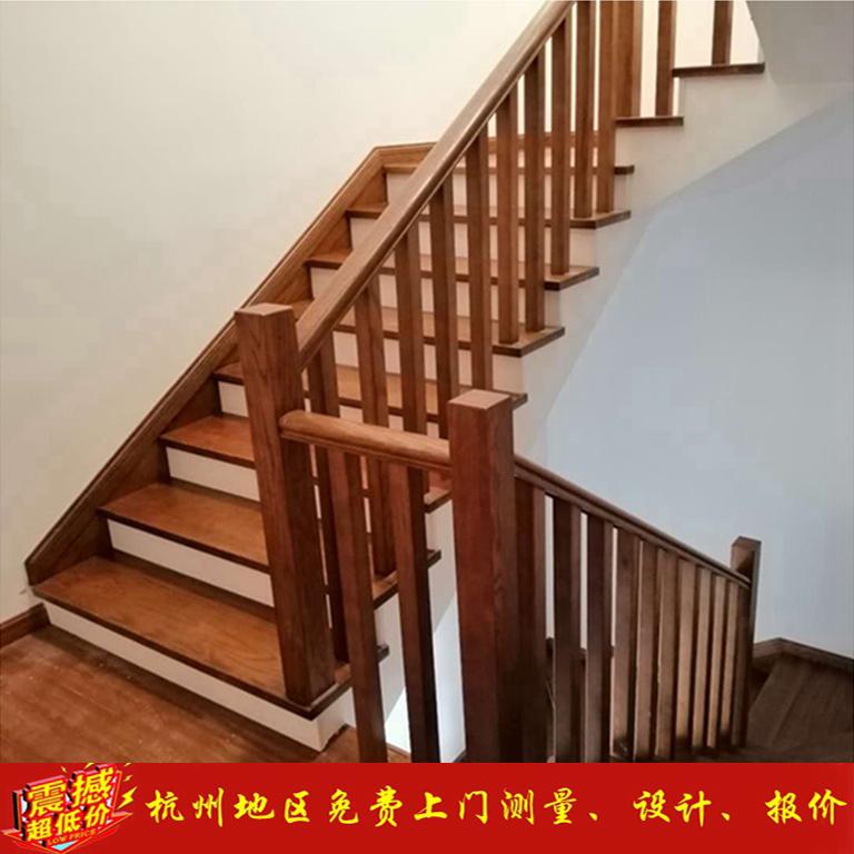 杭州别墅实木楼梯欧式扶手红橡木立柱踏步板复式整体楼梯踏步板