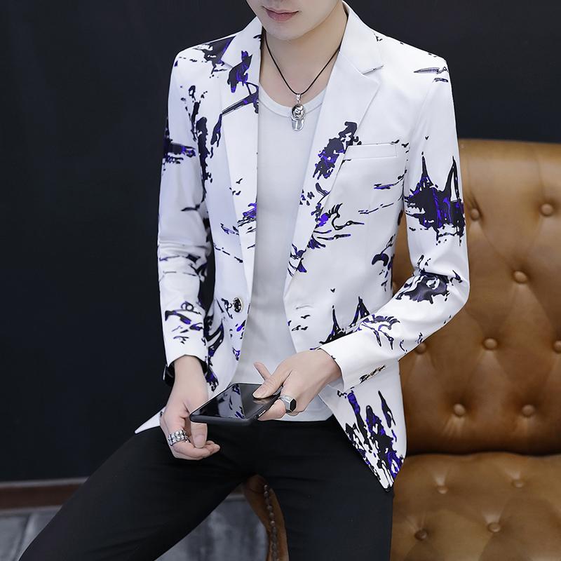 男士韩版修身西服男2018帅气个性小西装夜场上衣休闲西装单西外套