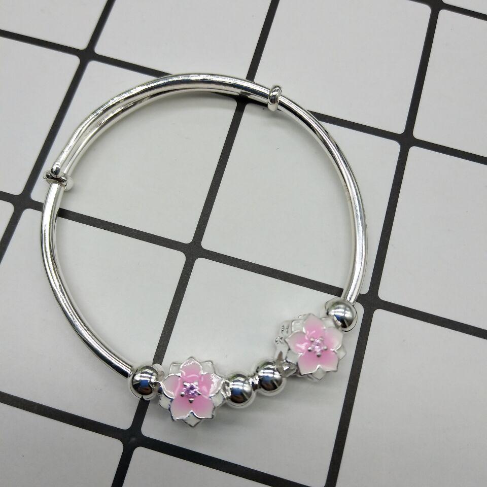 正生三生三世十里桃花水晶串珠手链 个性银手镯手串首饰品手环 女