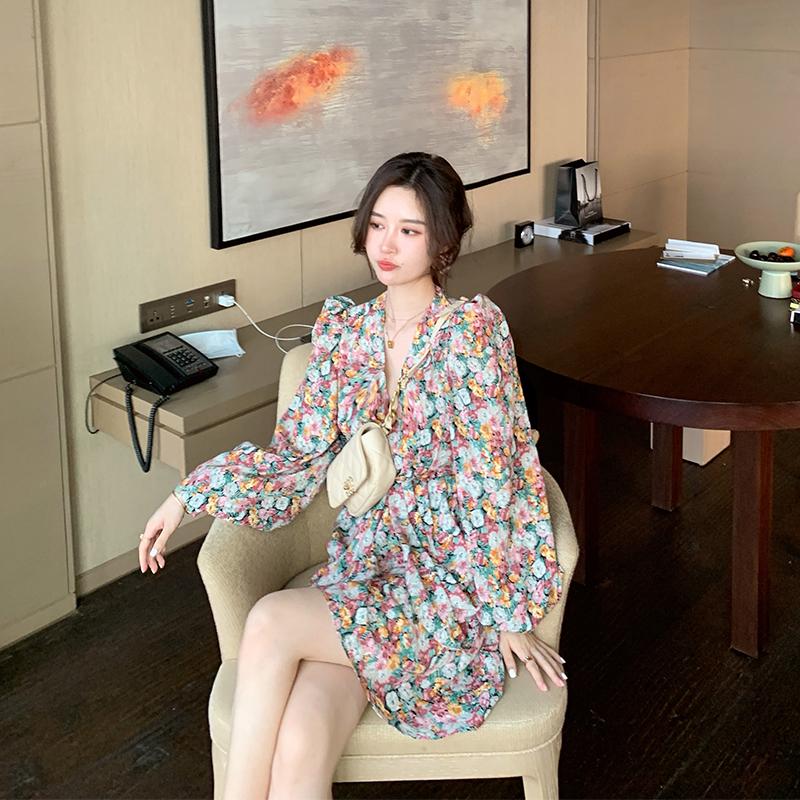 大花媛DHY2020新款春夏装复古法式抽褶设计显瘦雪纺碎花连衣裙女
