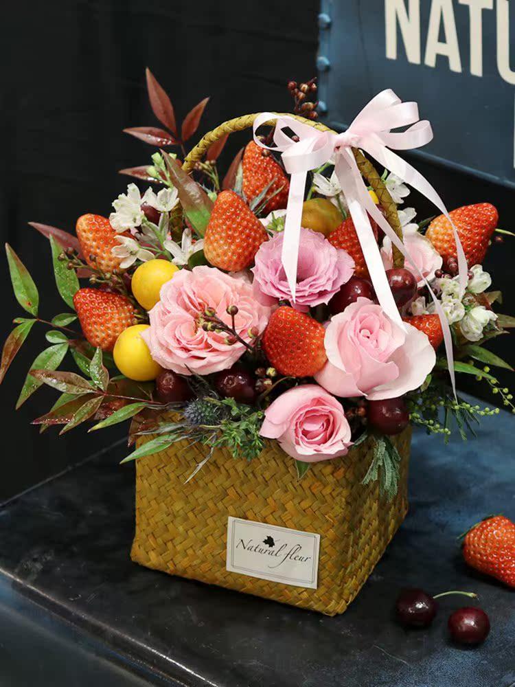 适配草莓花束 同城配送上海女朋友生日祝福鲜花速递创意水果花店