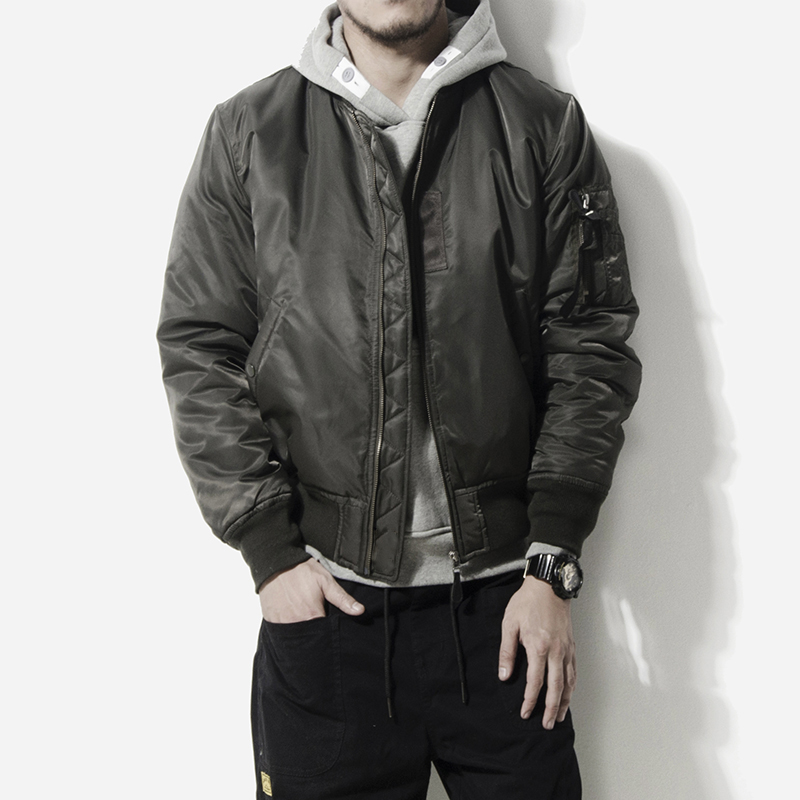 MA1 pilot cotton padded mens winter Japanese retro trendy mens handsome solid color thickened Baseball Jacket cotton padded jacket