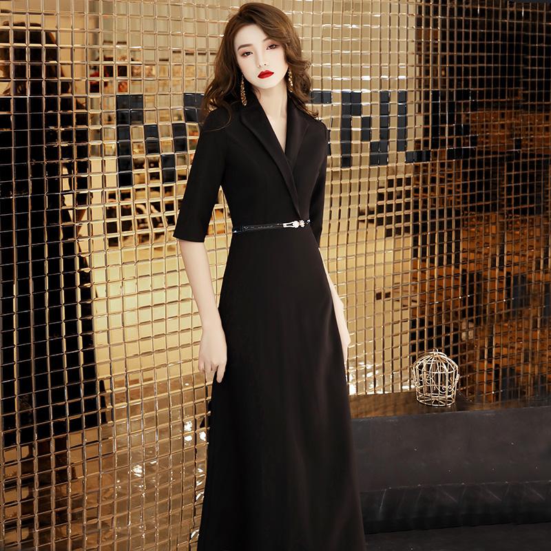 西装晚礼服连衣裙女黑色长款气质名媛高端轻奢小众宴会平时可穿的