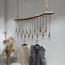 服装店展示架 树枝麻绳装饰吊环吊钩 上墙悬挂侧挂吊架复古服装架