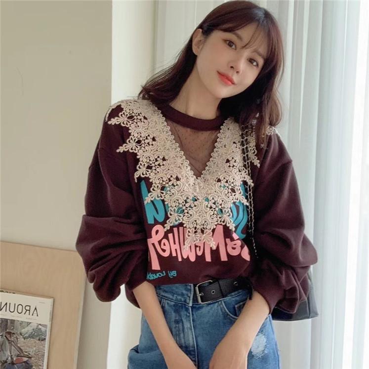 韩国东大门2021春季新品印花蕾丝拼接长袖卫衣女宽松字母套头上衣