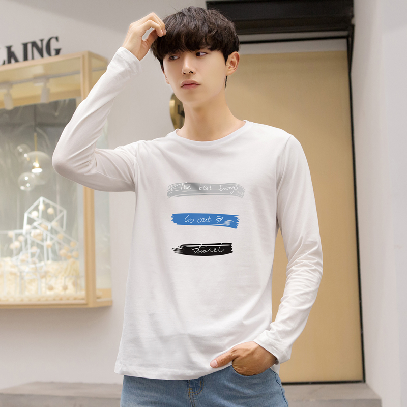 Mens long sleeve T-shirt young students round neck short sleeve autumn trend new slim fitting clothes mens bottoming shirt