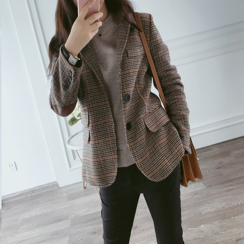 Plaid suit coat women's spring and autumn 2020 new Korean loose wool British casual small suit women's ins