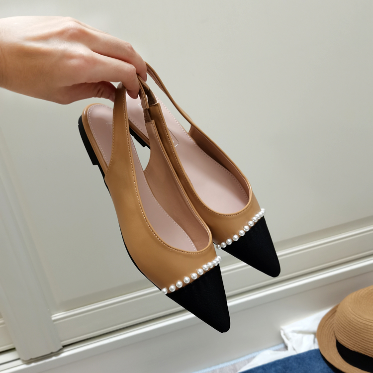 Korean 2021 summer new sweet elastic band color matching suede pearl pointed sandals low heel shallow mouth flat shoes