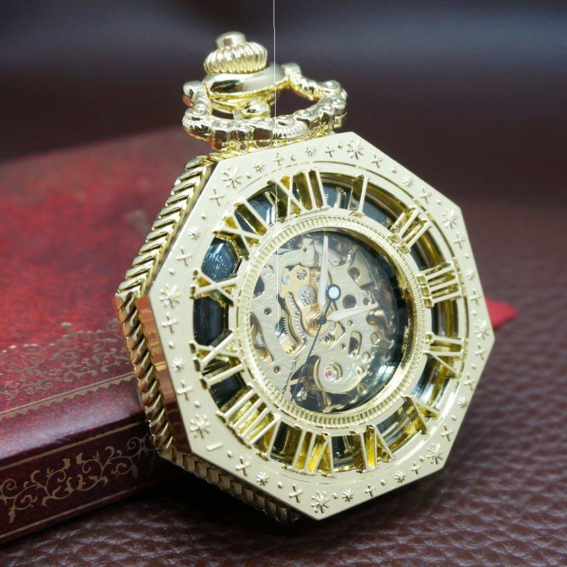 、新款创意复古怀旧翻盖机械怀表男女数字镂空创意陀表礼品手表
