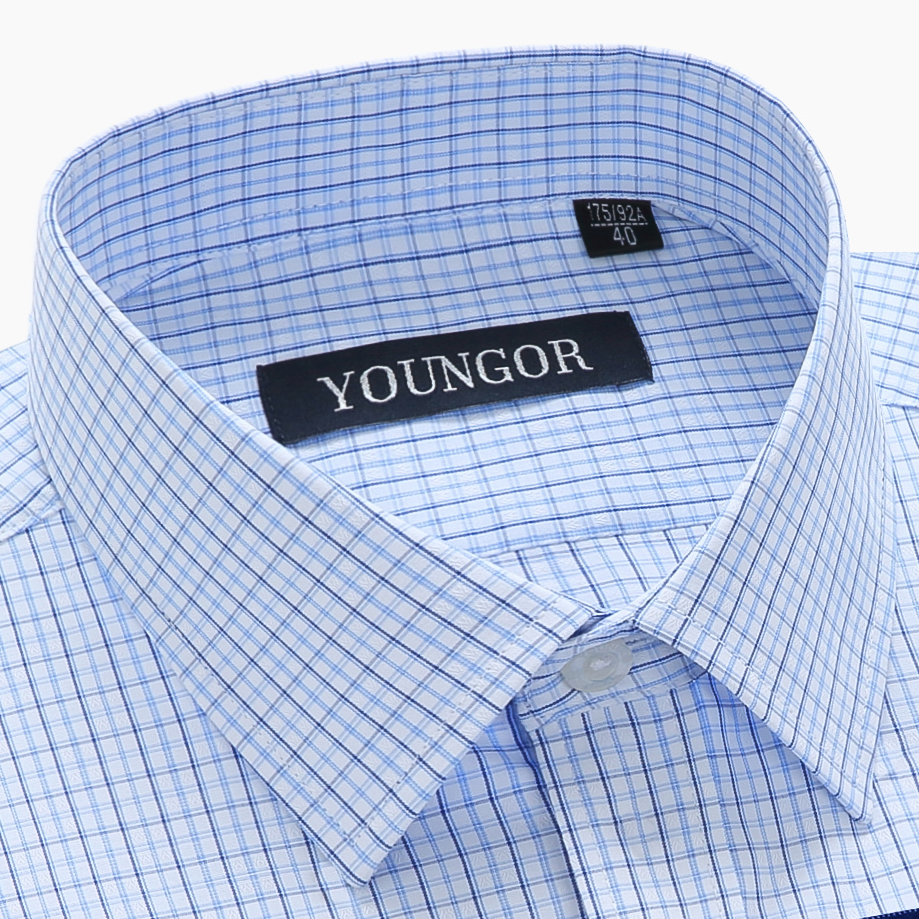 Youngor shirt mens short sleeve summer thin Plaid stripe middle aged loose business cotton half sleeve dad shirt
