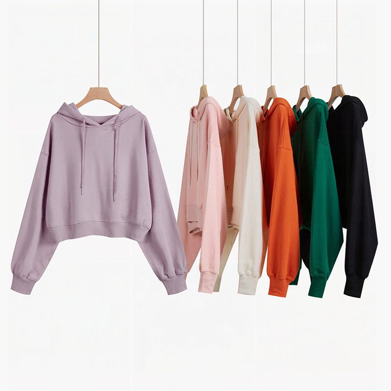 Short hooded sweater womens round neck thin autumn winter 2020 new Hoodie loose Korean long sleeve lazy top