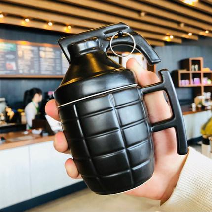 创意潮流搞怪个性马克杯地雷造型杯带盖ins燕麦抖音陶瓷水杯