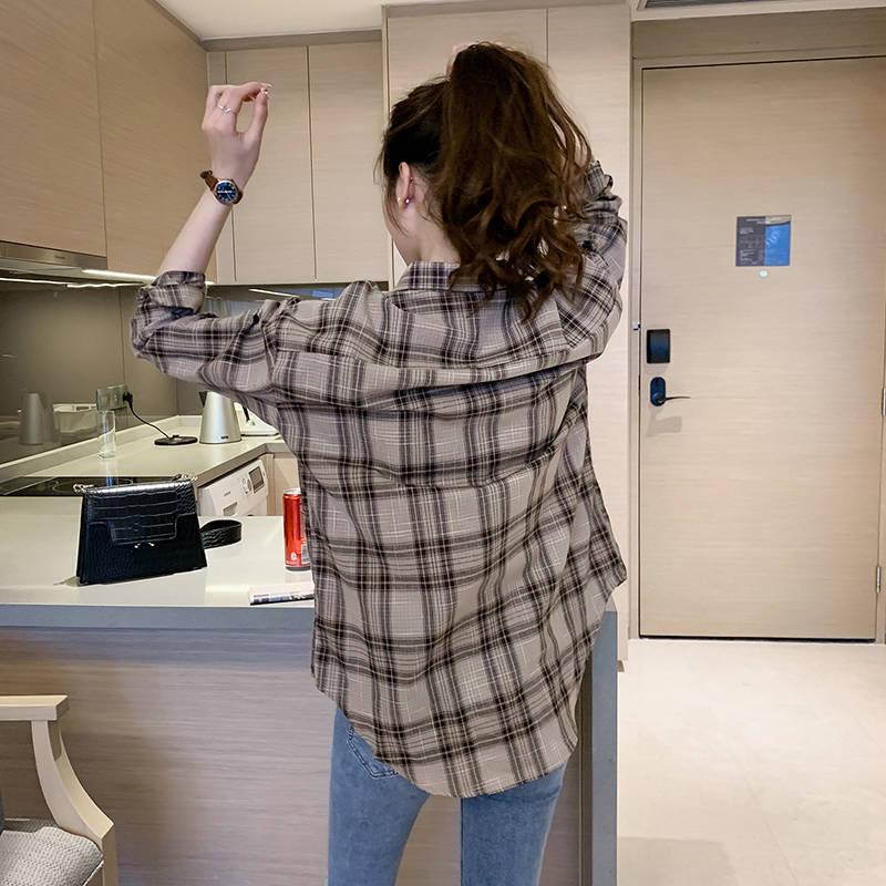 2020韩版春装新款长袖格子衬衫女宽松显瘦修身休闲衬衣外套上衣女
