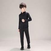 新款 男童黑色衬衫 纯棉长袖 儿童主持中大童衬衣男孩子礼服上衣 秋季