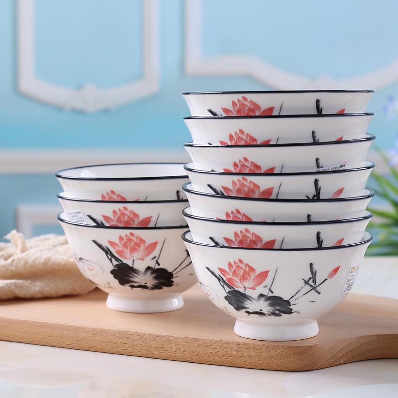 创意个性彩绘碗陶瓷碗家用饭碗高脚碗吃饭碗防烫碗筷单个套装餐具热销133件手慢无