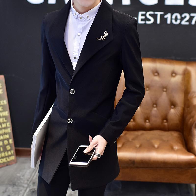 男装披风韩版西装春秋夏季青年薄款外套男士修身中长款潮流风衣男