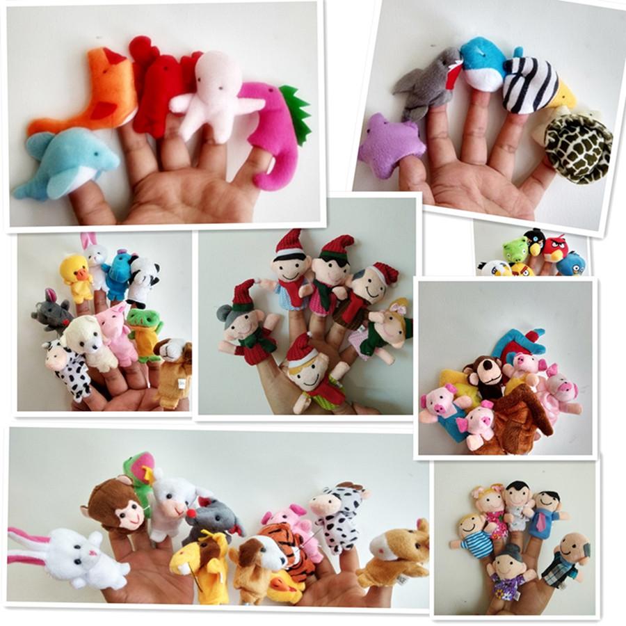 毛绒卡通指偶讲故事的玩偶教具海洋动物手指偶毛绒娃娃玩具小商品