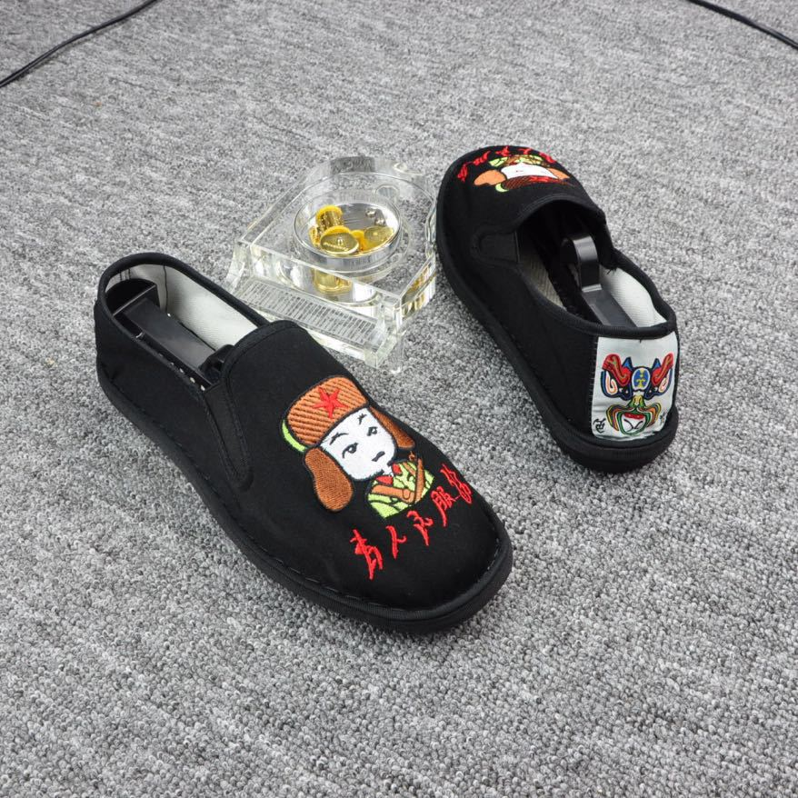 Spring and summer handmade mens ghost cloth shoes embroidered face makeup casual Lei Feng canvas lovers shoes old Beijing cattle tendon cloth shoes fashion