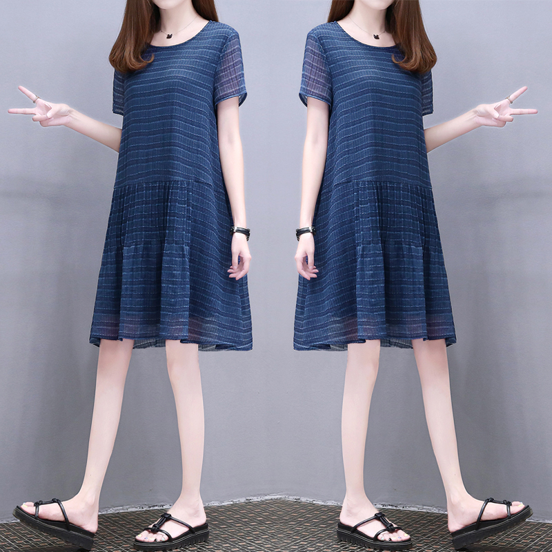 欧洲站2018夏季新款女装宽松圆领气质裙子时尚大码显瘦连衣裙女潮
