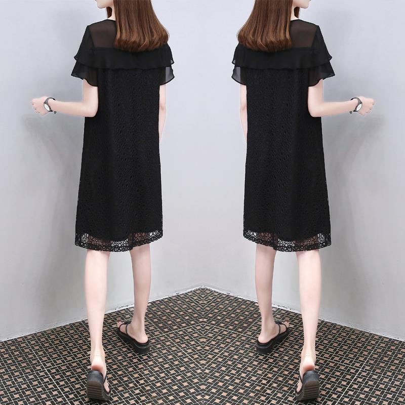 欧洲站2018夏季新款韩版黑色蕾丝裙子大码气质显瘦时尚连衣裙女装
