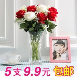 仿真玫瑰花束塑料花假花单支客厅装饰花干花餐桌面摆件防花艺摆设