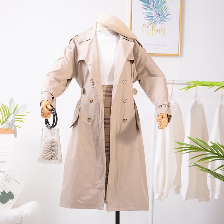 韩版秋冬季开衫长袖纯色中长款外套风衣26L斤1.7冰点直降