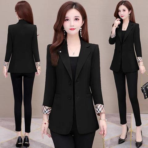 2021新款小西装外套女薄款韩版格子时尚气质休闲短款修身小西服潮