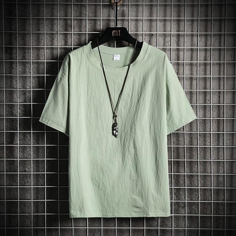 半截袖男亚麻T恤棉麻短袖中国风麻料上衣半袖宽松体��大码t血男装