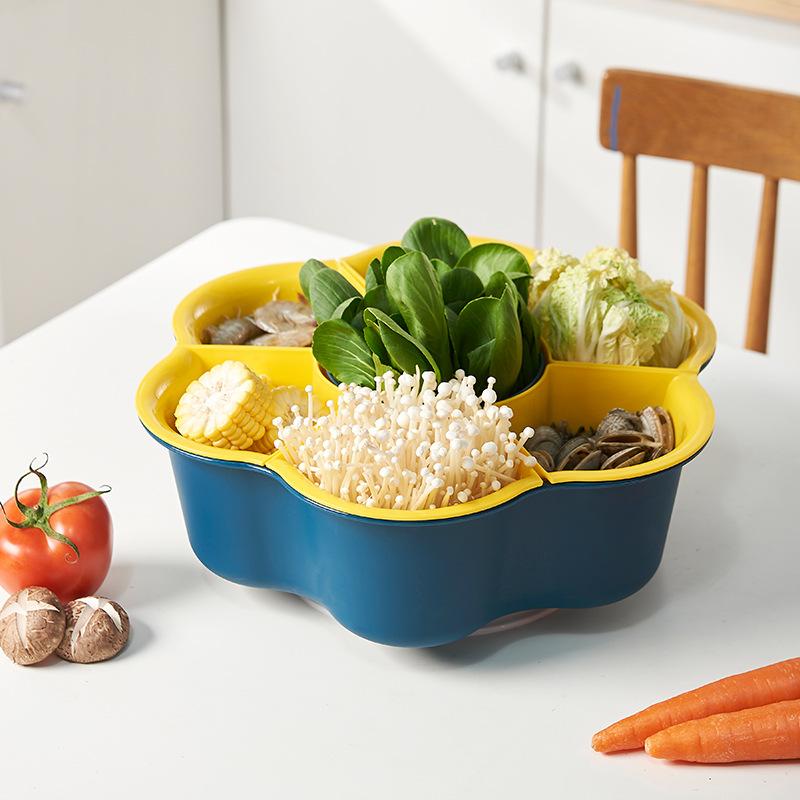 旋转火锅蔬菜拼盘家用7分格双层水果洗菜篮沥水篮子火锅食材拼盆
