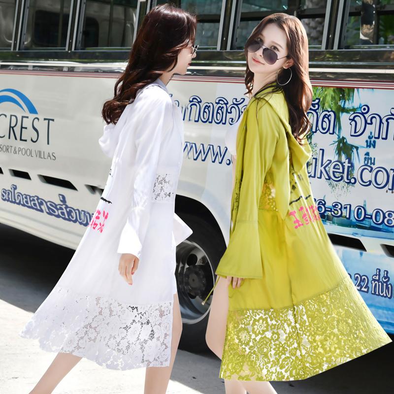 防晒衣女防紫外线中长款2018新款韩版长袖薄开衫外套蕾丝透气夏季