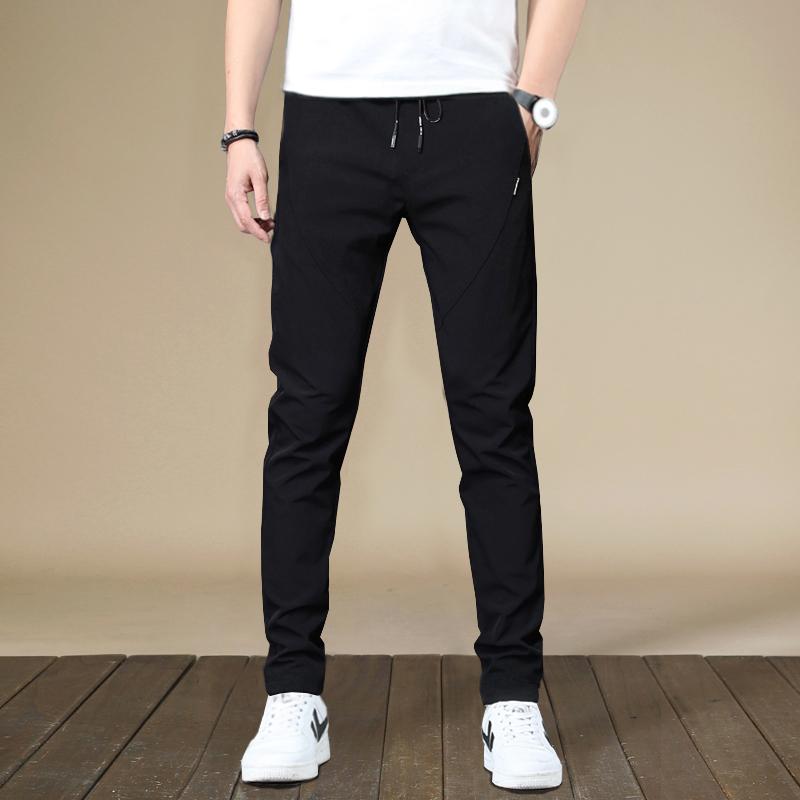 夏季韩版修身薄款冰丝透气弹力休闲裤男青年学生速干直筒运动裤潮