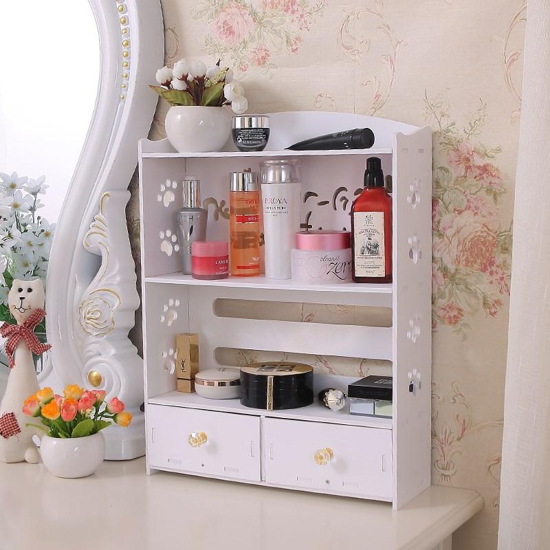 少女耳环桌子洗漱台宿舍整理卧室架子床头柜家居化妆品收纳盒零食